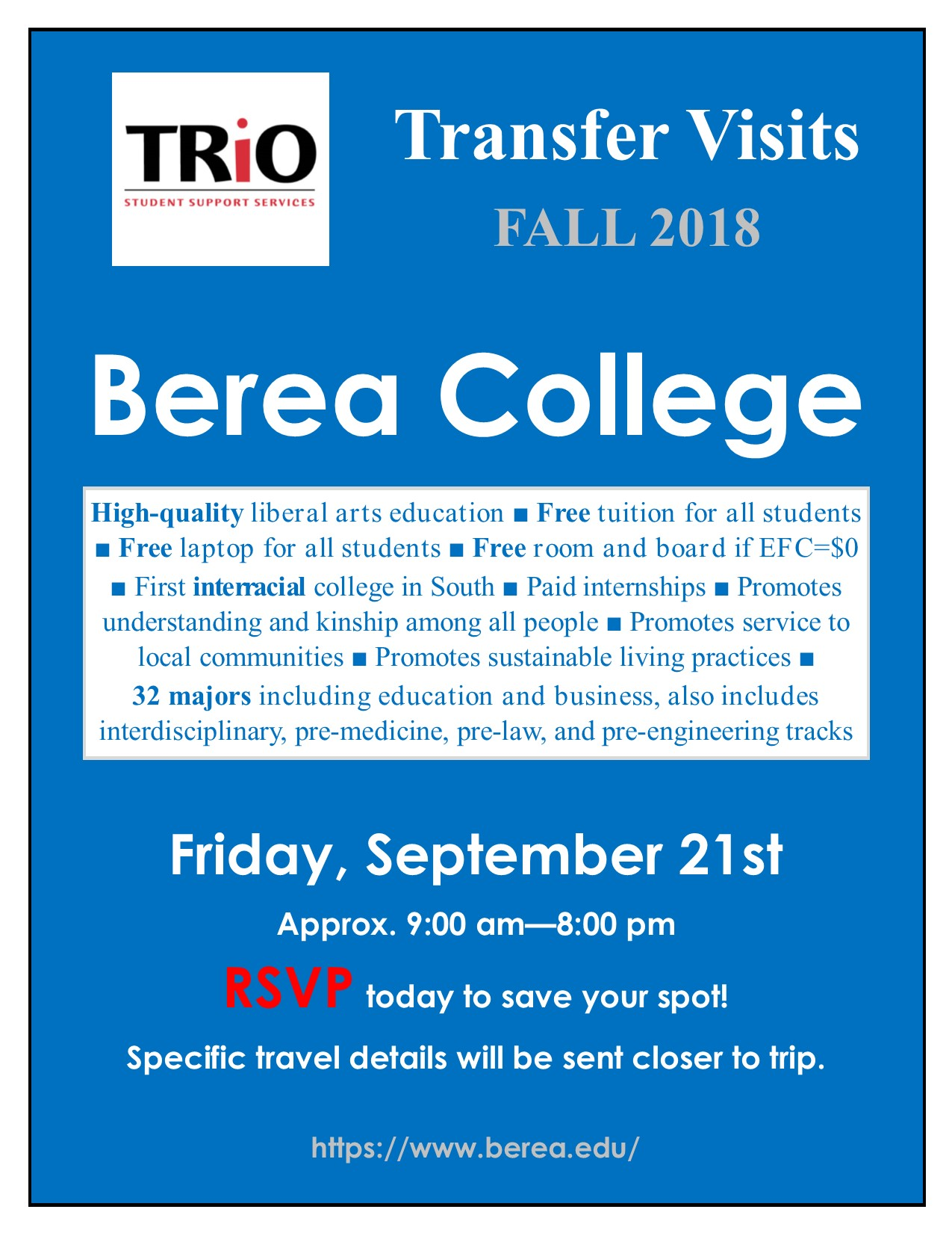 Fall 2018 Berea College Transfer Visit flyer.