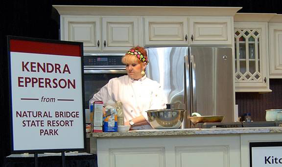 Kendra Epperson, ACTC grad and Cast-Iron Chef award winner, in the kitchen at the Kentucky Statee Fair.
